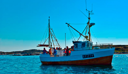 People fishing from a fishing boat